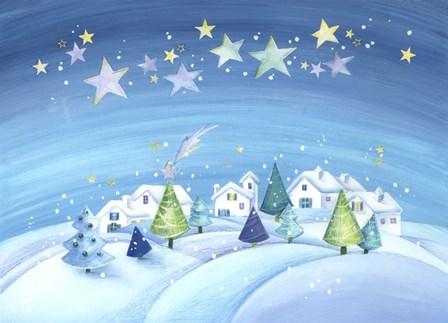 Starry Holiday Snow Scene by DBK-Art Licensing art print