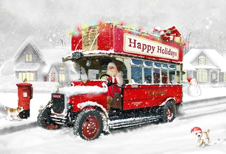 Santa's Happy Holiday Bus by DBK-Art Licensing art print