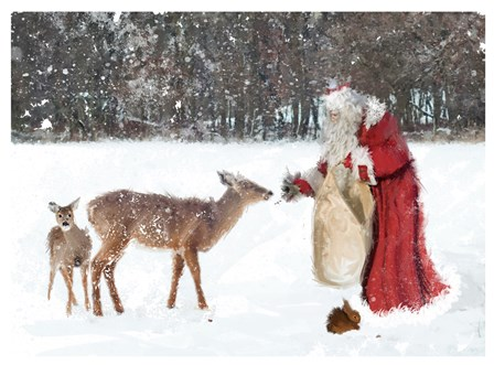 Santa Greets The Deer by DBK-Art Licensing art print