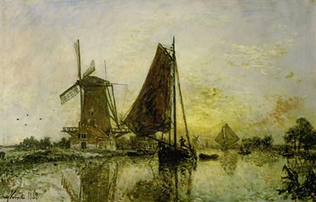 Boats Near Mills In Holland, 1868 by Johan Barthold Jongkind art print