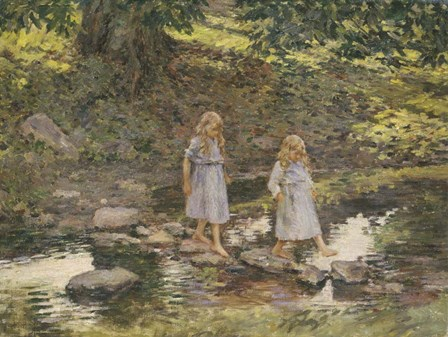Stepping Stones, 1893 by Theodore Robinson art print