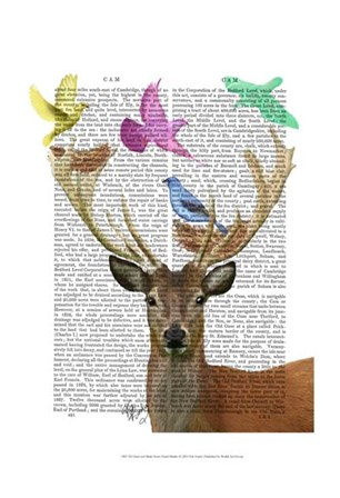 Deer and Birds Nests Pastel Shades by Fab Funky art print