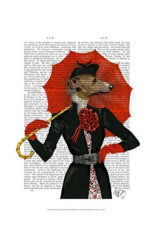 Elegant Greyhound and Red Umbrella by Fab Funky art print