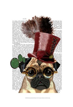 Pug with Steampunk Style Top Hat by Fab Funky art print