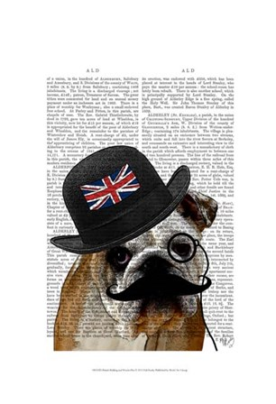 British Bulldog and Bowler Hat by Fab Funky art print