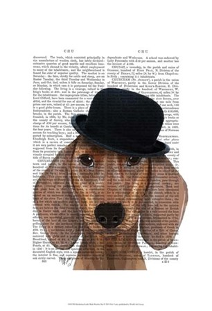 Dachshund with Black Bowler Hat by Fab Funky art print
