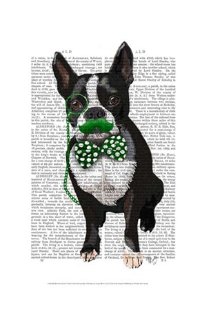 Boston Terrier With Green Moustache And Spotty Green Bow Tie by Fab Funky art print