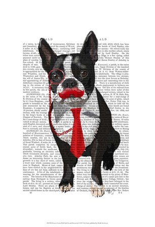 Boston Terrier With Red Tie and Moustache by Fab Funky art print