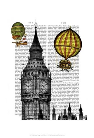 Big Ben and Vintage Hot Air Balloons by Fab Funky art print