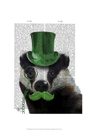 Badger with Green Top Hat and Moustache by Fab Funky art print
