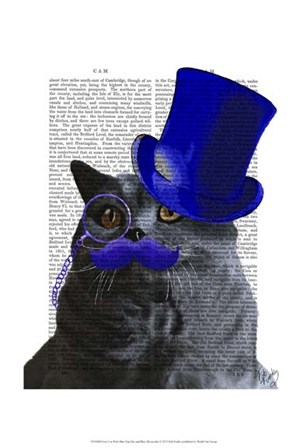 Grey Cat With Blue Top Hat and Blue Moustache by Fab Funky art print