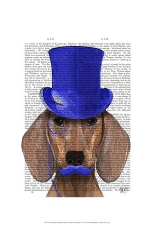 Dachshund With Blue Top Hat and Blue Moustache by Fab Funky art print