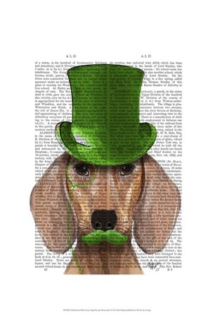 Dachshund With Green Top Hat and Moustache by Fab Funky art print