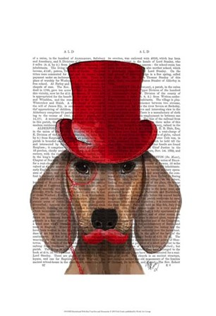 Dachshund With Red Top Hat and Moustache by Fab Funky art print