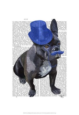French Bulldog With Blue Top Hat and Moustache by Fab Funky art print
