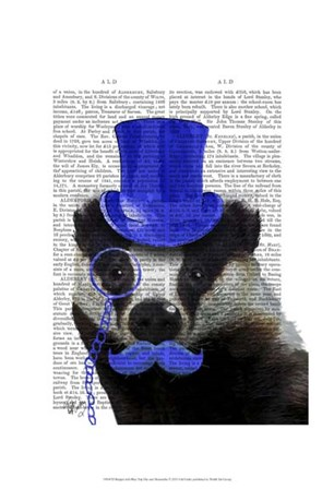 Badger with Blue Top Hat and Moustache by Fab Funky art print
