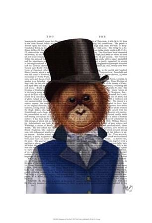 Orangutan in Top Hat by Fab Funky art print