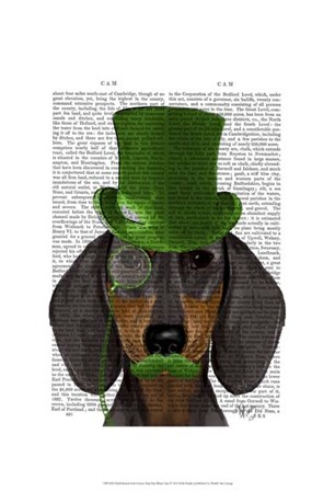 Dachshund with Green Top Hat Black Tan by Fab Funky art print