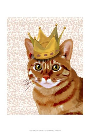 Ginger Cat with Crown Portrait by Fab Funky art print
