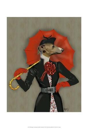 Elegant Greyhound and Red Umbrella by Fab Funky art print