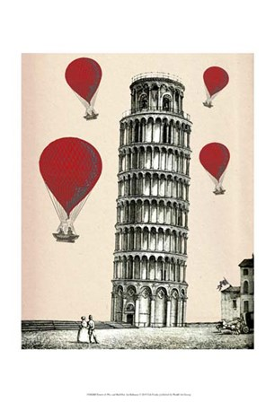 Tower of Pisa and Red Hot Air Balloons by Fab Funky art print