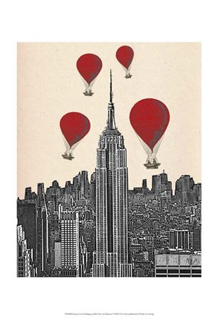Empire State Building and Red Hot Air Balloons by Fab Funky art print