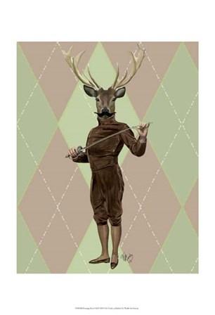 Fencing Deer Full by Fab Funky art print