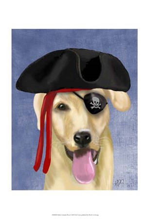 Yellow Labrador Pirate by Fab Funky art print