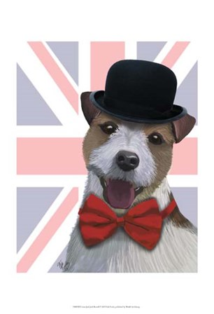 Union Jack Jack Russell by Fab Funky art print