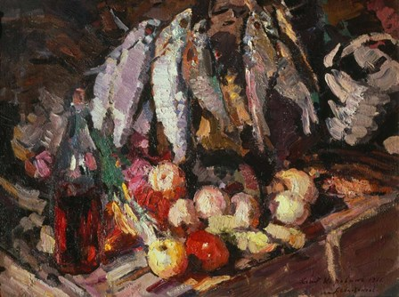 Still Life with Fish, Wine, and Fruit by Konstantin Korovin art print