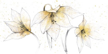 Gilded Graphite Floral Trio by Avery Tillmon art print