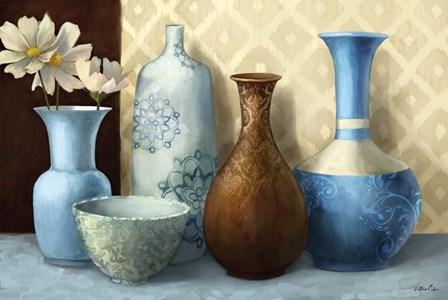 Soft Blue Vase by Vittorio Milan art print