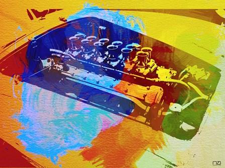 Ferrari Engine Watercolor by Naxart art print