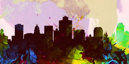 Salt Lake City Skyline by Naxart art print