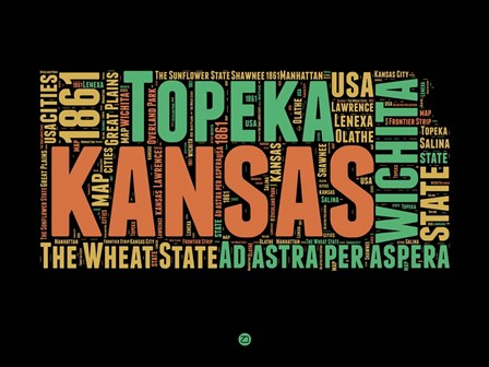 Kansas Word Cloud 1 by Naxart art print