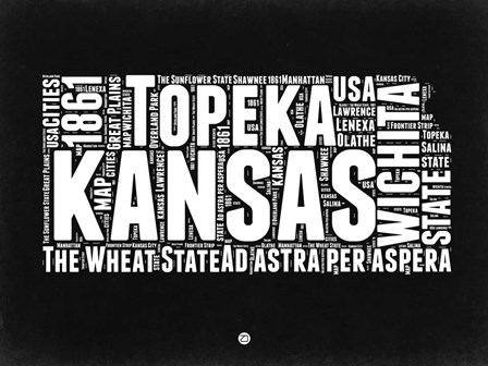 Kansas Black and White Map by Naxart art print