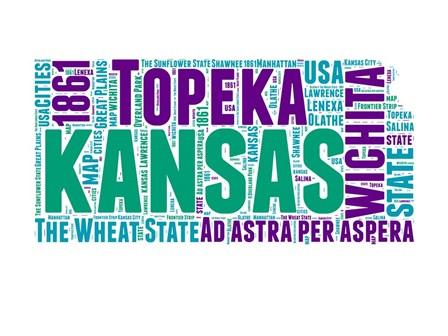 Kansas Word Cloud Map by Naxart art print