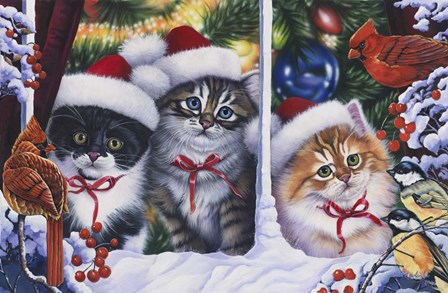 Cats In Window by Jenny Newland art print