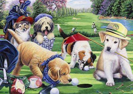 Golfing Puppies by Jenny Newland art print