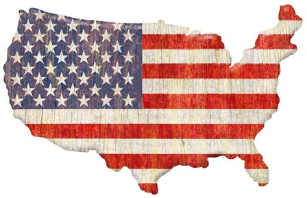 American Flag Continent Cut Out by RetroPlanet art print