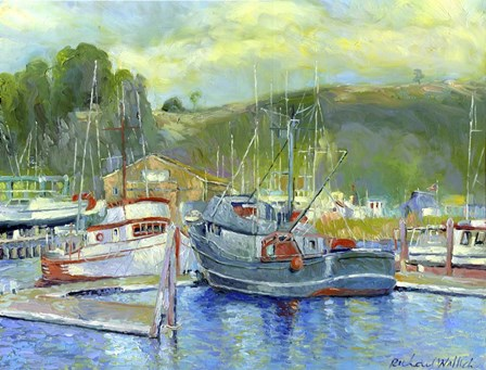 Fishing Boats On Oregon Coast 1 by Richard Wallich art print