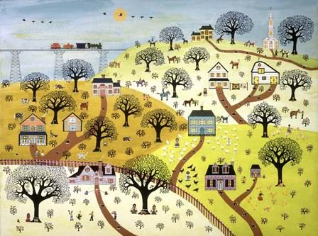 Train Passing Over Farmland by David Sheskin art print
