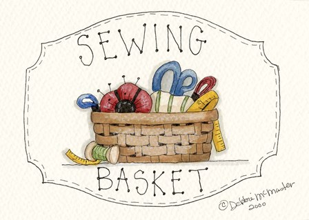 Sewing Basket by Debbie McMaster art print