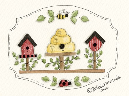 Beehive With Birdhouse by Debbie McMaster art print