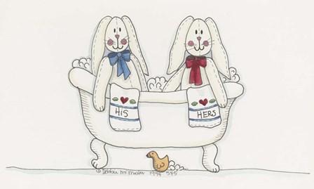Bath Time Bunnies by Debbie McMaster art print
