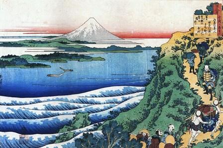 Snow on Mount Fuji, Porters Climb Uphill. by Katsushika Hokusai art print