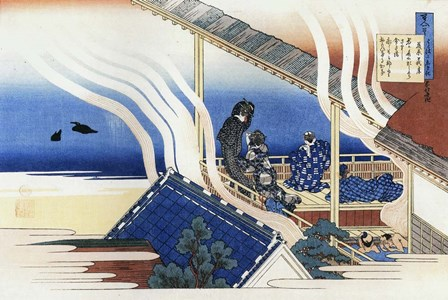 Four men and Two Women Enjoy Bath and Rest by Katsushika Hokusai art print