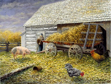 Pig & Chickens by Kevin Dodds art print