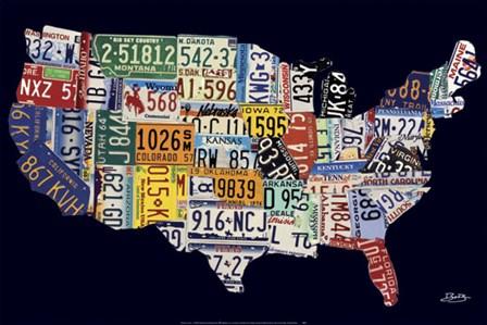 USA License Map by Brady Barker art print