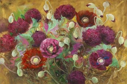 Poppies and Peonies by Li Bo art print